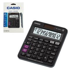 Калькулятор CASIO настольный MJ-120DPLUS-W, 12 разрядов, двойное питание, 126х148 мм, европодвес, черный