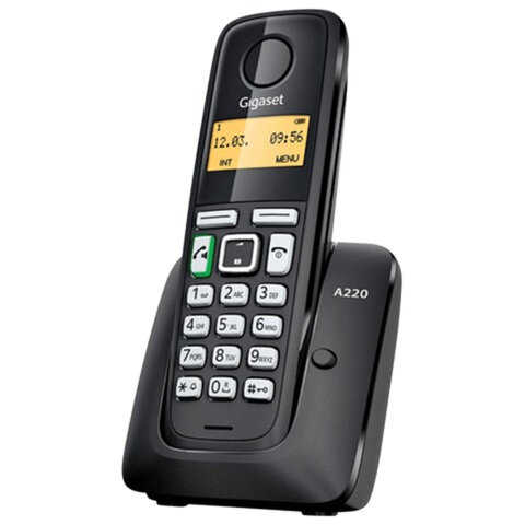 Радиотелефон GIGASET A220 RUS, память на 80 номеров, повтор номера, тональный/импульсный набор, чёрный