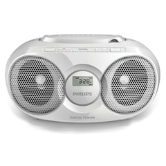 Магнитола PHILIPS AZ318W/12, с CD/MP3-плеером, USB, mini jack 3,5 мм, выходная мощность 2 Вт, белая