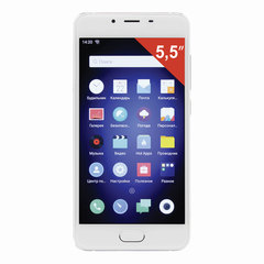 "Смартфон MEIZU U10 U680H, 2 SIM, 5"", 4G, 5/13 Мп, 32 Гб, MicroSD, белый/серебристый, металл, стекло"
