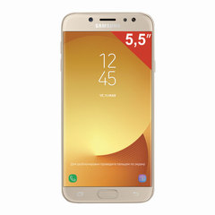 "Смартфон SAMSUNG Galaxy J7, 2 SIM, 5,5"", 4G (LTE), 13/13 Мп, 16 ГБ, microSD, золотой, металл и стекло (2017)"