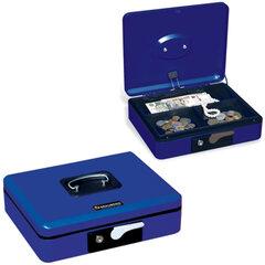 Ящик для денег, ценностей, документов, печатей BRAUBERG, 90х240х300 мм, с ключевым замком, темно-синий