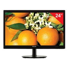 """Монитор LED 24"""" (61 см) PHILIPS 246V5LHAB, 1920x1080, TN+film, 16:9, HDMI, D-Sub, 250 cd, 5 ms, черный"""