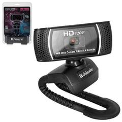 Веб-камера DEFENDER G-lens 2597, HD 720p, 2 Мп, микрофон, USB 2.0, автофокус, регулируемое крепление, черная