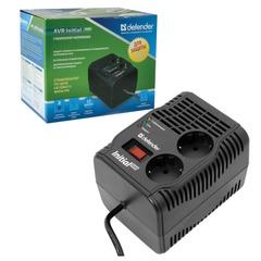 Стабилизатор напряжения DEFENDER AVR Initial 600, 200 Вт, входное напряжение 175-285 В, 2 розетки, черный