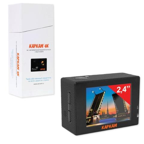 """Видеорегистратор автомобильный KAPKAM 4К, 2,4"""" (экран 6,1 см), Ultra HD, Wi-Fi, microSD, черный"""