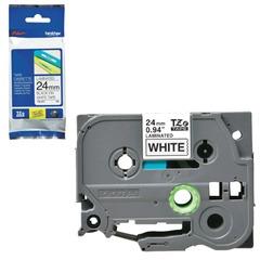 Картридж для принтеров этикеток BROTHER TZE251, 24 мм х 8 м, чёрный шрифт, белый фон, ламинированная