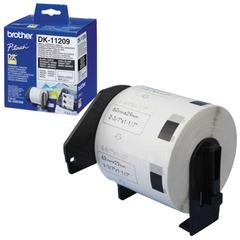 Картридж для принтеров этикеток BROTHER DK11209, 62 мм х 29 м, черный шрифт, белый фон, 800 наклеек в рулоне