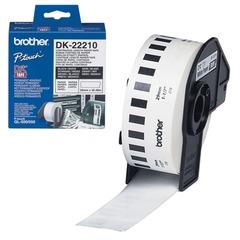 Картридж для принтеров этикеток BROTHER DK22210, 29 мм х 30,48 м, черный шрифт, белый фон, бумажная