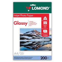 Фотобумага LOMOND для струйной печати, А4, 200 г/м2, 25 л., односторонняя, глянцевая, 0102046