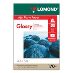 Фотобумага LOMOND для струйной печати, A4, 170 г/м2, 50 л., односторонняя, глянцевая, 0102142