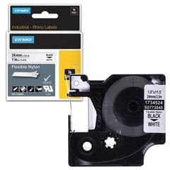 Картридж для принтеров этикеток DYMO Rhino, 24 мм х 3,5 м, лента нейлоновая, чёрный шрифт, неровная поверхность, белая