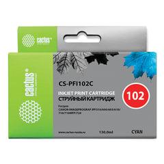 Картридж струйный CANON (PFI-102C) iPF500/510/F600/605/650/700, голубой, 130 мл, CACTUS совместимый