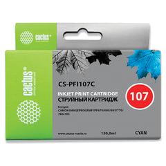 Картридж струйный CANON (PFI-107C) iPF680/685/780/785, голубой, 130 мл, CACTUS совместимый
