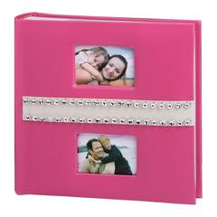 Фотоальбом BRAUBERG (БРАУБЕРГ) на 200 фотографий 10х15 см, индивидуальный бокс, бумажные страницы, 2 рамки для фотографий, розовый