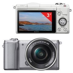 """Фотоаппарат системный SONY ILCE A5000LS, 16-50 мм, 20,1 Мп, 3"""" ЖК-монитор поворотный, Wi-Fi, NFC, серебристый"""