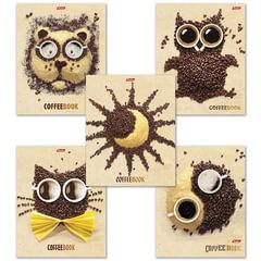 """Тетрадь 48 л., HATBER, клетка, обложка мелованный картон, """"CoffeeBook"""", 48Т5B1"""