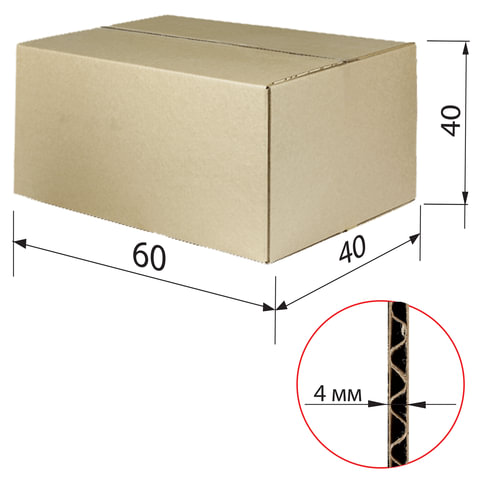 Гофроящик, длина 600 х ширина 400 х высота 400 мм, марка Т22, профиль С, FEFCO 0201 / ГОСТ, исполнение А