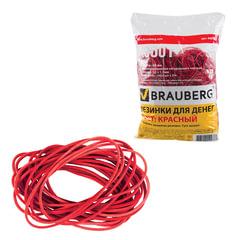 Резинки для денег BRAUBERG, 1000 г, красные, натуральный каучук