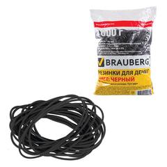Резинки для денег BRAUBERG (БРАУБЕРГ), черные, натуральный каучук, 1000 г