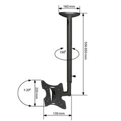 """Кронштейн-крепление для ТВ потолочный ARM MEDIA LCD-1000, VESA 75-200, 10-37"""", 2 ст. свободы, 30 кг"""