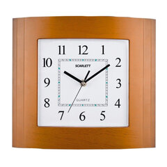 Часы настенные SCARLETT SC-55QP прямоугольник, белые, коричн. рамка, плавный ход, 29,8х26,4х4,5 см