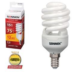 Лампа люминесцентная энергосберегающая SONNEN Т2, 15 (75) Вт, цоколь E14, 12000 ч., теплый свет, премиум
