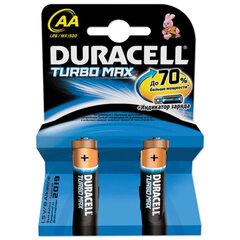 Батарейки DURACELL Turbo AA LR6, комплект 2 шт., блистер, 1,5 В (самые мощные щелочные батарейки)