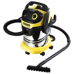 Пылесос KARCHER MV/WD 5 Premium, с пылесборником, мощность 1100 Вт, выдув, контейнер из нержавеющей стали, 1.348-230.0
