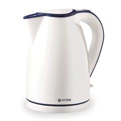 Чайник VITEK VT-1107, закрытый нагревательный элемент, объем 1,7 л, мощность 2200 Вт, пластик, белый
