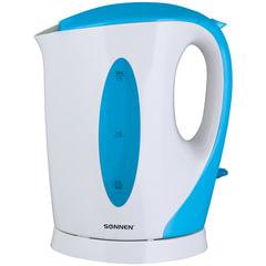 Чайник SONNEN KT-003BL, открытый нагревательный элемент, 1,7 л, 2200 Вт, пластик, белый/синий
