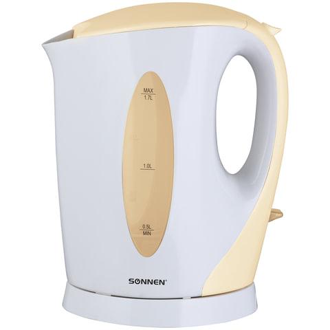 Чайник SONNEN KT-003BG, открытый нагревательный элемент, 1,7 л, 2200 Вт, пластик, белый/бежевый