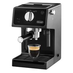 Кофеварка рожковая DELONGHI ECP31.21, 1100 Вт, объем 1 л, ручной капучинатор, черная