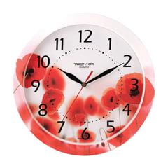 "Часы настенные TROYKA 11000009, круг, белые с рисунком ""Маки"", рамка в цвет корпуса, 29x29х3,5 см"