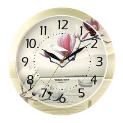 """Часы настенные TROYKA 11000016, круг, белые с рисунком """"Лотос"""", рамка в цвет корпуса, 29x29x3,5 см"""