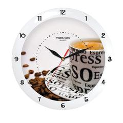 """Часы настенные TROYKA 11110143, круг, белые с рисунком """"Чашка кофе"""", белая рамка, 29х29х3,5 см"""