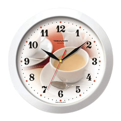 """Часы настенные TROYKA 11110187, круг, белые с рисунком """"Чашка кофе"""", белая рамка, 29х29х3,5 см"""