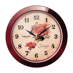 """Часы настенные TROYKA 11131155, круг, бежевые с рисунком """"Винтаж"""", коричневая рамка, 29х29х3,5 см"""
