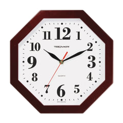 Часы настенные TROYKA 41431416, восьмигранник, белые, коричневая рамка, 29х29х3,5 см