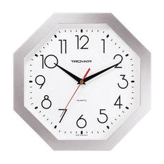 Часы настенные TROYKA 41470419, восьмигранник, белые, серебристая рамка, 29х29х3,5 см