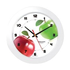 """Часы настенные TROYKA 51510533, круг, белые с рисунком """"Яблоки"""", белая рамка, 30,5х30,5х5,4 см"""