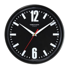 Часы настенные TROYKA 91900919, круг, черные, черная рамка, 23х23х4 см