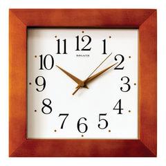 Часы настенные САЛЮТ ДС-2АА27-017, квадрат, белые, деревянная рамка, 31х31х4,5 см