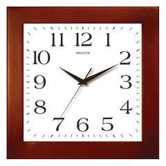 Часы настенные САЛЮТ ДС-2АА28-010, квадрат, белые, деревянная рамка, 31х31х4,5 см