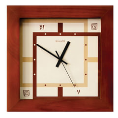 """Часы настенные САЛЮТ ДС-2АА28-077, квадрат, бежевые с рисунком """"Этно"""", деревянная рамка, 31х31х4,5 см"""