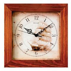 """Часы настенные САЛЮТ ДС-2АС28-176, квадрат, с рисунком """"Парусник"""", деревянная рамка, 31х31х4,5 см"""