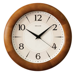 Часы настенные САЛЮТ ДС-ББ25-130, круг, бежевые, деревянная рамка, 31х31х4,5 см