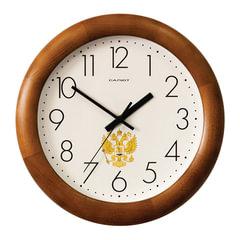 """Часы настенные САЛЮТ ДС-ББ25-186, круг, бежевые с рисунком """"Герб"""", деревянная рамка, 31х31х4,5 см"""