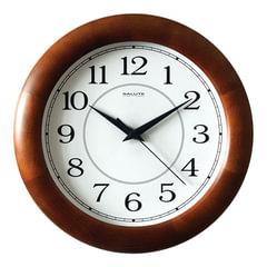 Часы настенные САЛЮТ ДС-ББ28-014, круг, белые, деревянная рамка, 31х31х4,5 см