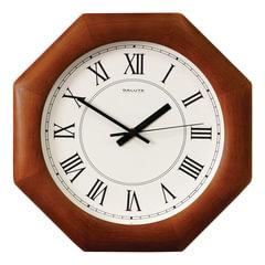 Часы настенные САЛЮТ ДС-ВБ28-013, восьмигранник, белые, деревянная рамка, 31х31х4,5 см